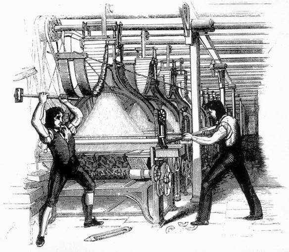 The Luddites, machine breaking